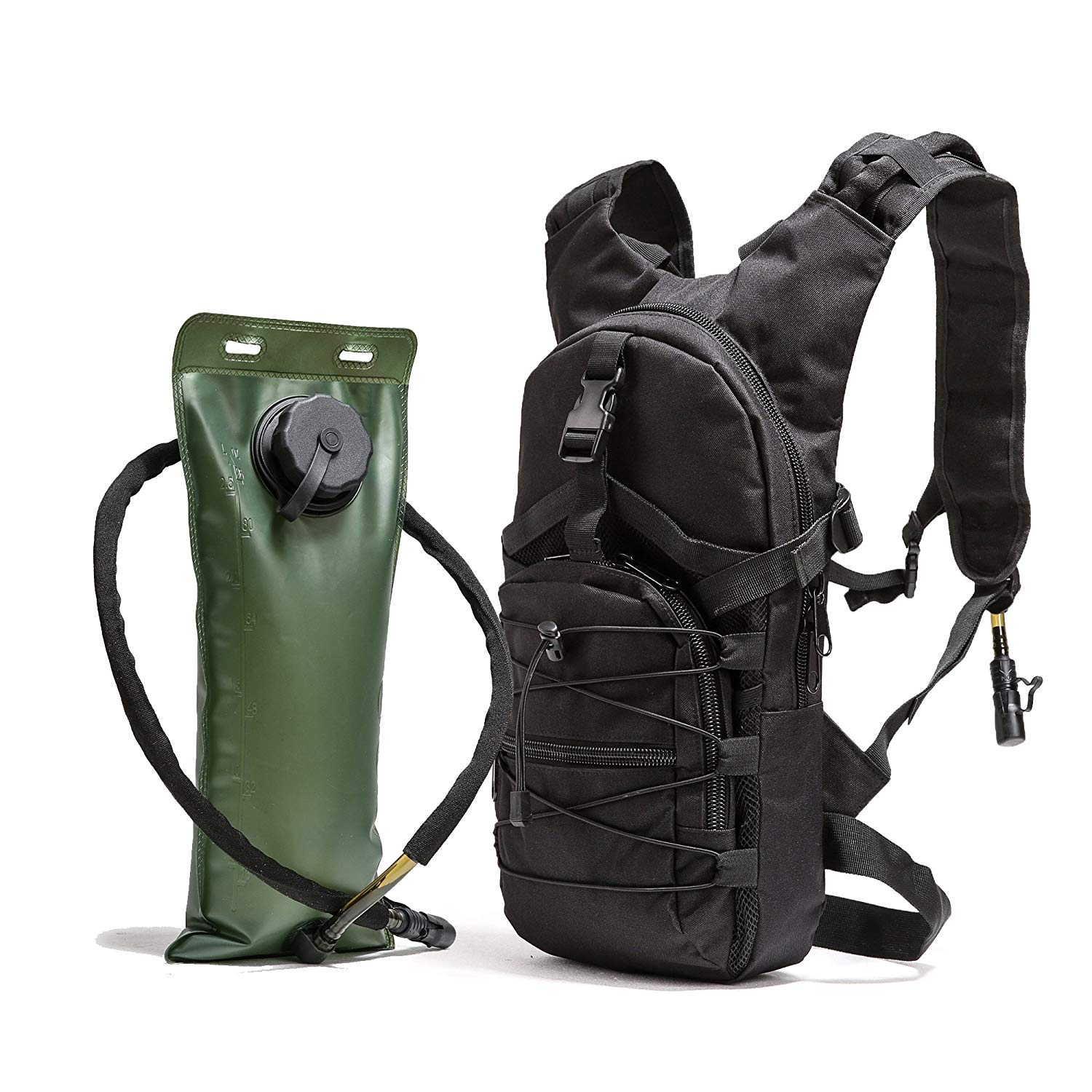 ba49c09fc1 Get Quotations · FIGROL Tactical Hydration Pack 3L Bladder Water Bag for  Outdoor Running Cycling Hiking Climbing(Black