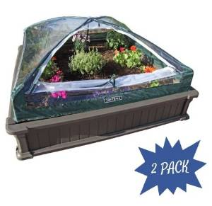 Raised Garden Bed, 2pk with 1 Tent, BrownGrowing Tents 4' x 4' by Lifetime