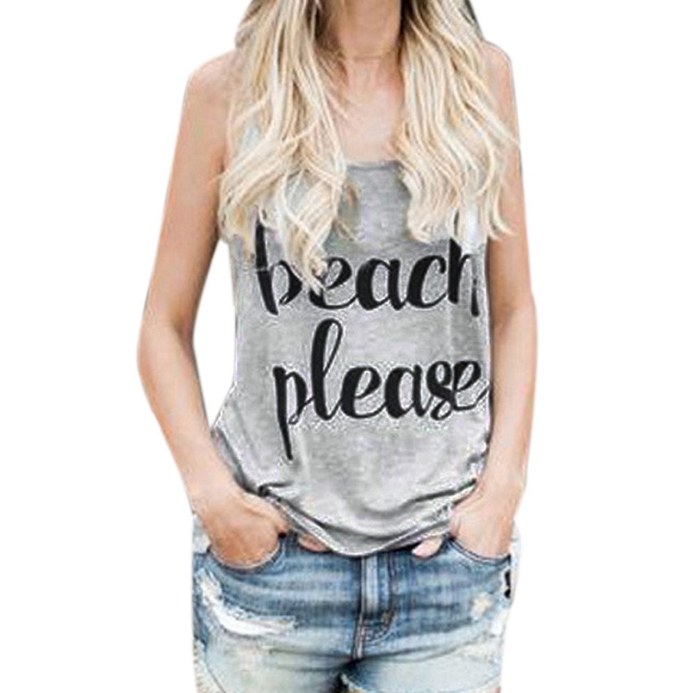Crop Tops Vest Women❤️ZYEE❤️ Out Shoulder Print Letter Sleeveless Short Sleeve -Shirt TopsCami Shirt Tees Casual Blouse Tank Tops Crop Top Tank Loose Tees (Gray, S)