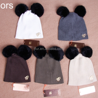 Hand Knitted Baby Hat Beanies With Fur Double Rabbit Pompoms Top For Great Boy Girl