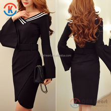 China factory women clothing long trumpet sleeve V neck black midi dress