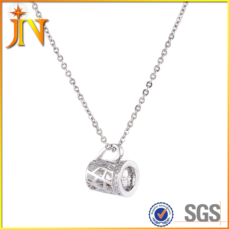 XL0241 JN gold plated creative CZ chunky hollow mug charm kids necklace men gold necklace designs price
