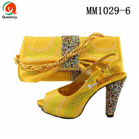 MM1029 Queency 2017 Latest Fancy Design Wholesale Italian Shoes and Bag to Match in Yellow for Women