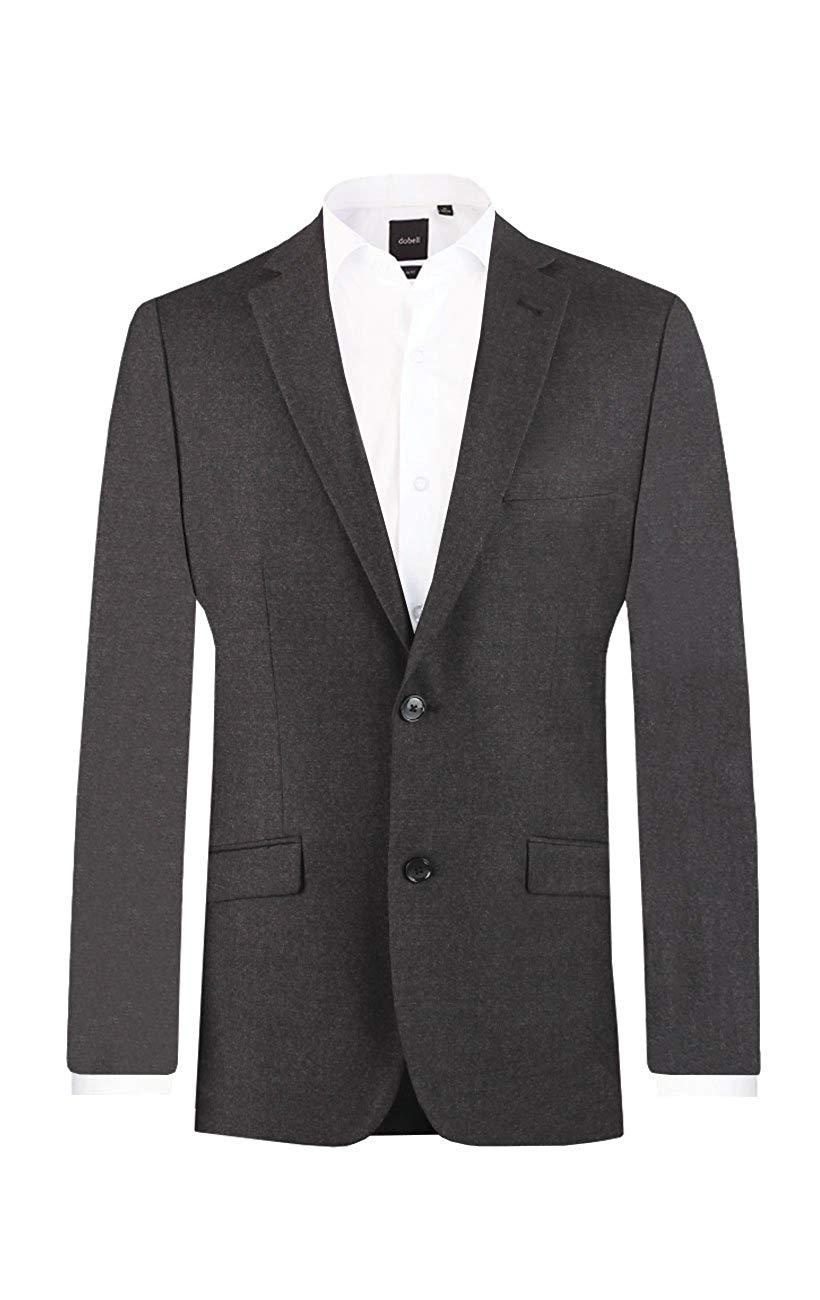 Dobell Mens Charcoal Suit Jacket Slim Fit 100% Wool Notch Lapel