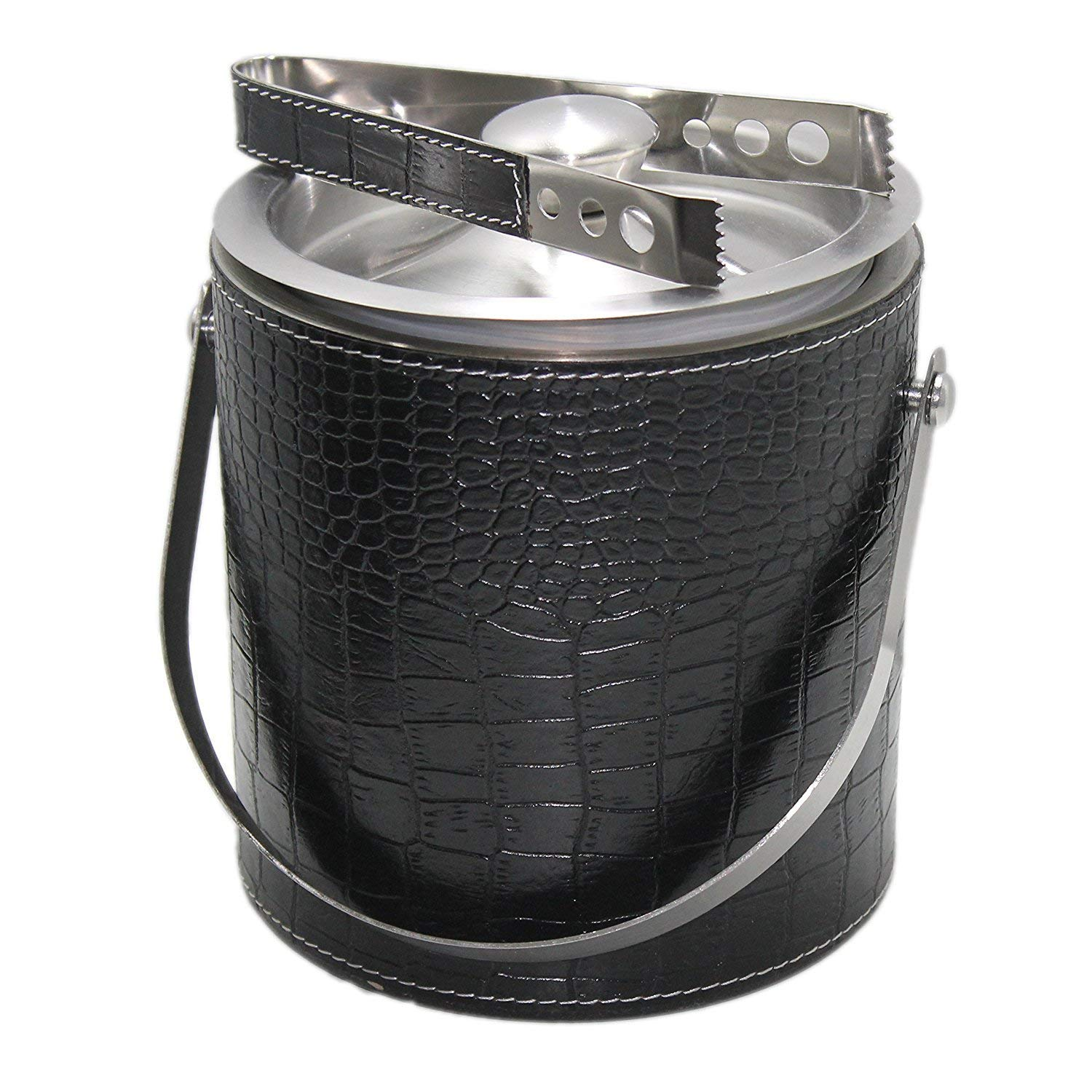 Black Leather Ice Bucket Double Wall Insulated Stainless Steel Ice Bucket Stylish with Lid of air lock waser and Portable Handle With Hand Work leather grip Ice Tungus