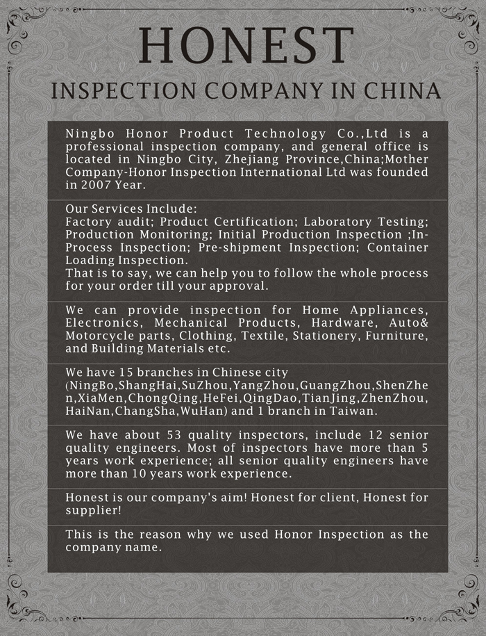 Ningbo Quality Inspection Report Certificate Sample Company China ...