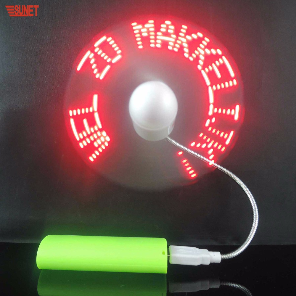 Meja notebook teks programmable led pesan fan usb dengan led