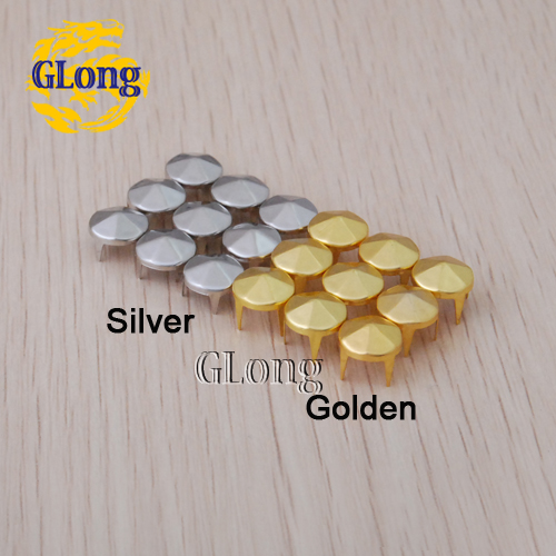 9mm Cone six sides studs Silver/Gold DIY Rivets Spikes for Bags Shoes Accessories#GZ004-9