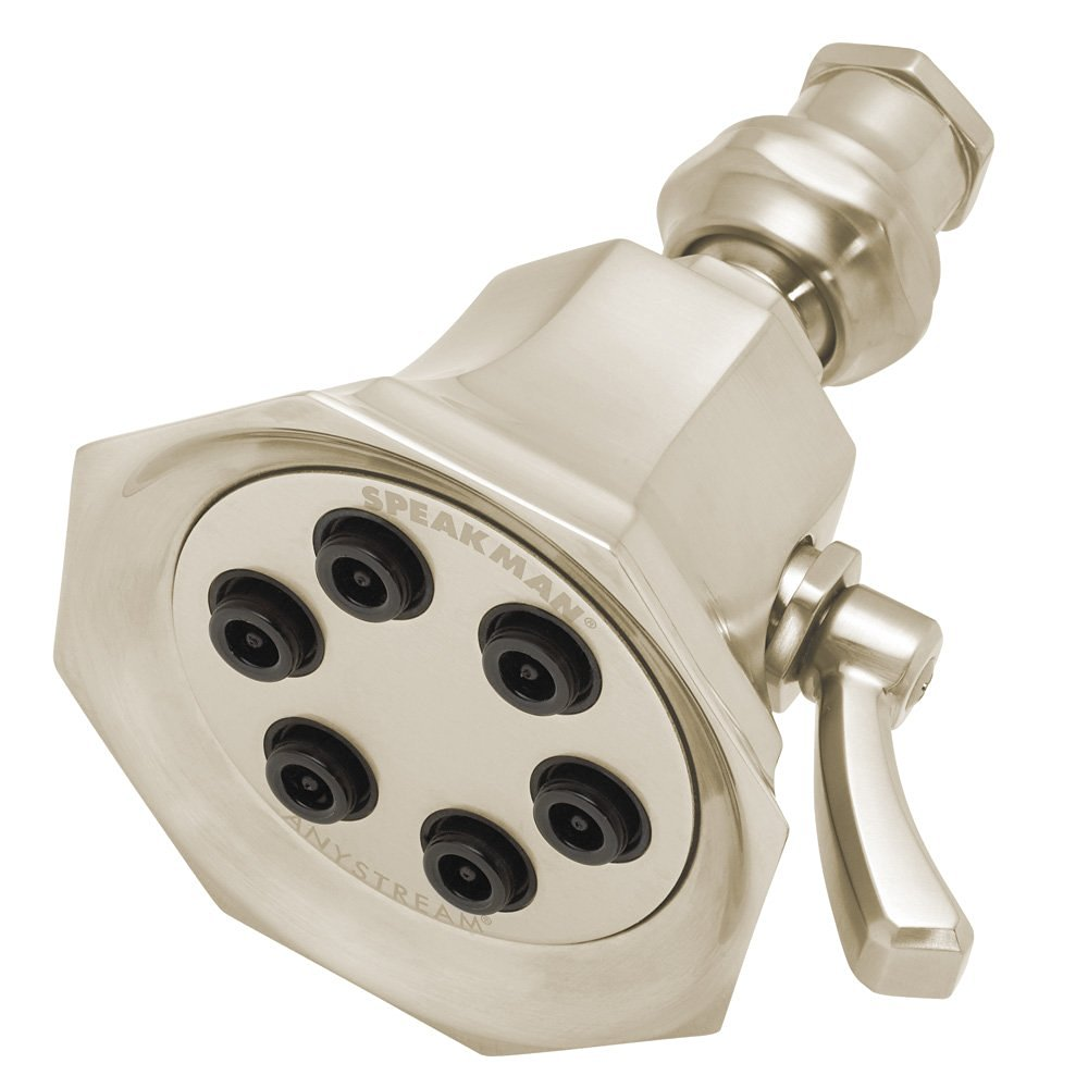 Speakman S-2255-BN Vintage Anystream High Pressure Adjustable 2.5 GPM Solid Brass Shower Head, Brushed Nickel