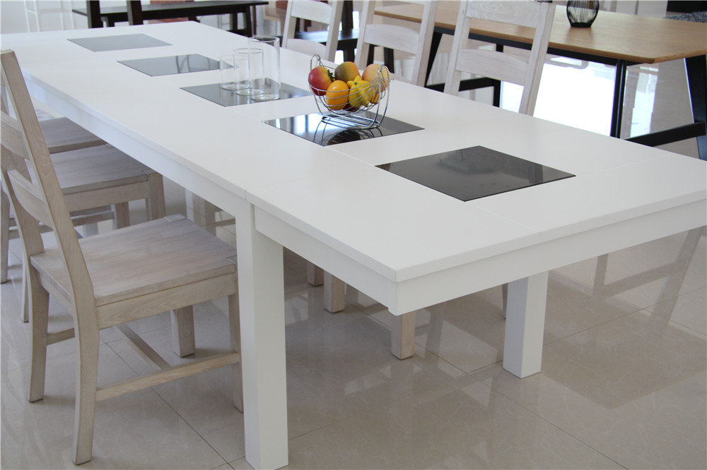 Double Drop Leaf Type White Extendable Dining Table For Dining Room Furniture