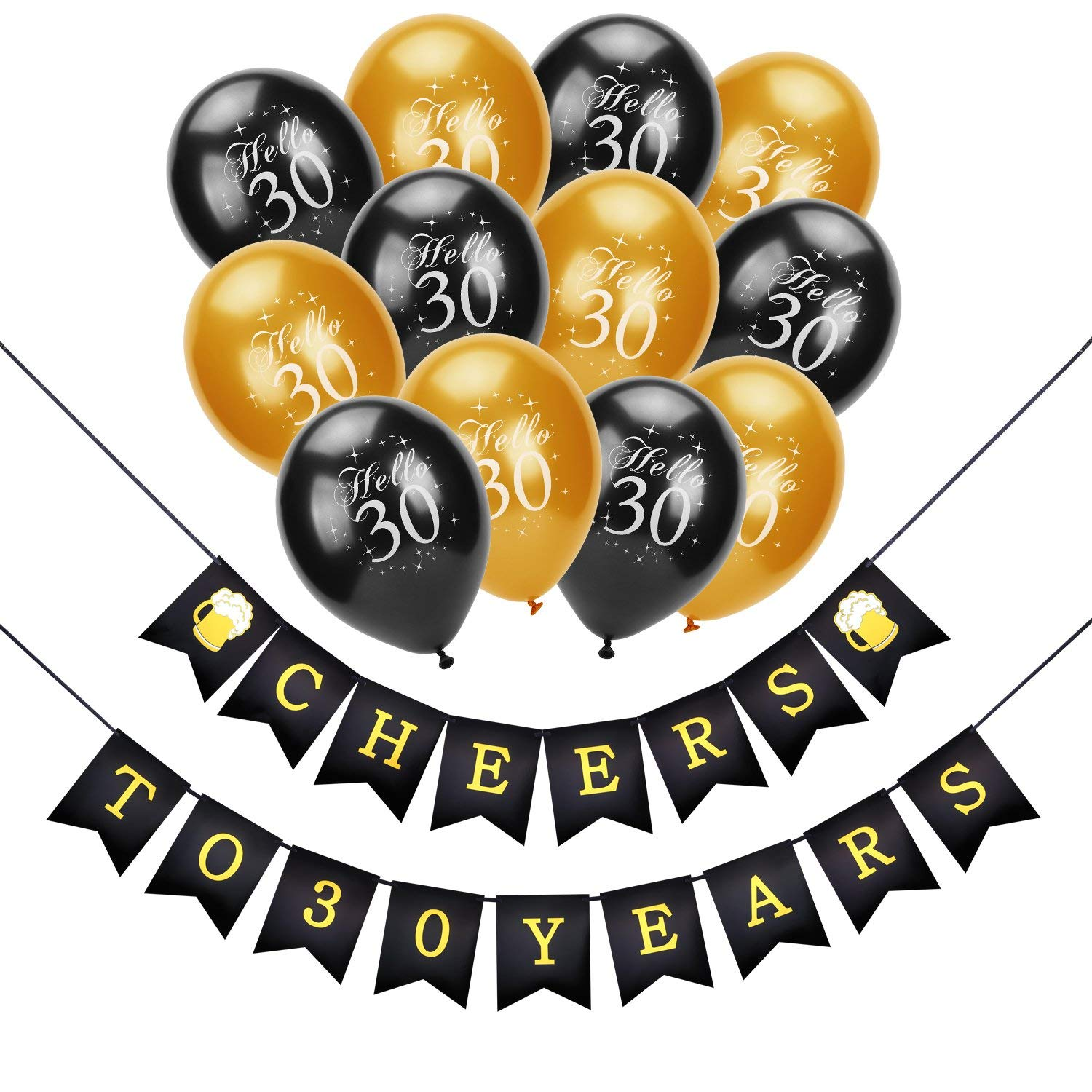 Get Quotations Konsait 30th Birthday Decoration Cheers To 30 BannerHello Balloons