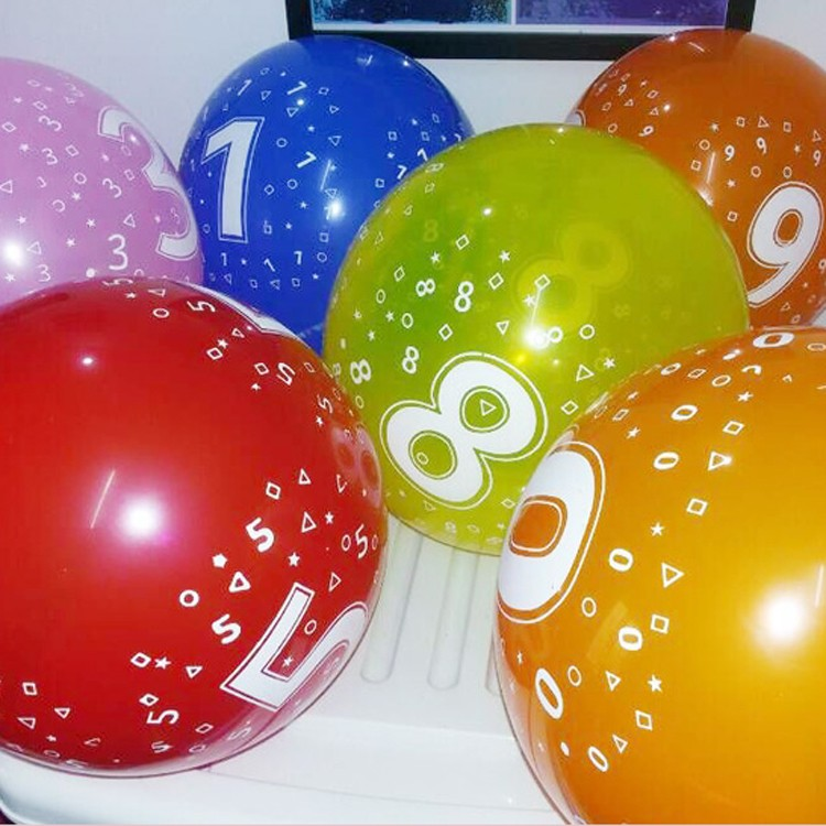 dream work number printed inkej latex balloons with logo manufacturers