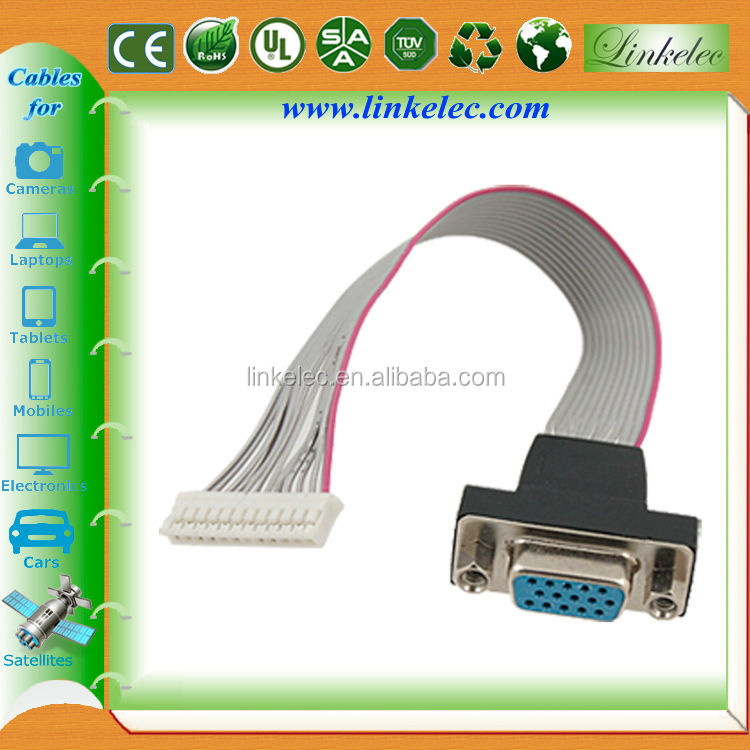 Factory supply wholesale 15 pin d sub rgb vga flat cable