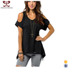 2017 Korean Spring Fashion Style Black Sexy V neck T Loose Fit tshirt Short Sleeve t shirt