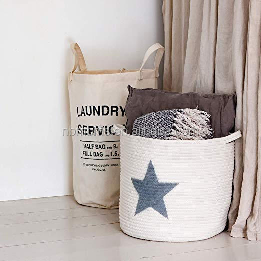 QJMAX Grey Star Woven Rope Blanket Basket Collapsible Cotton Rope Basket For Toys And Book