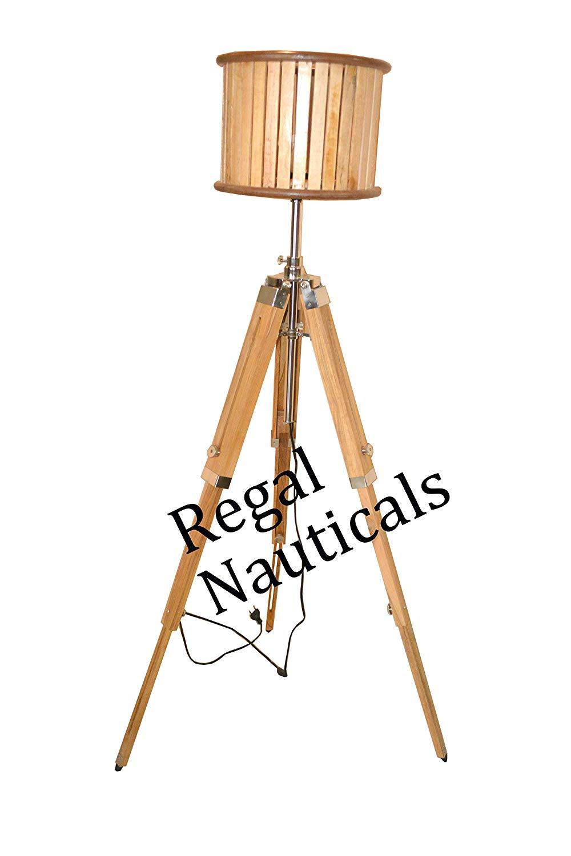 Vintage Designer Tripod Floor Lamp Natural Wood Nautical Floor Shade Lamp Home Decor Shade lamp