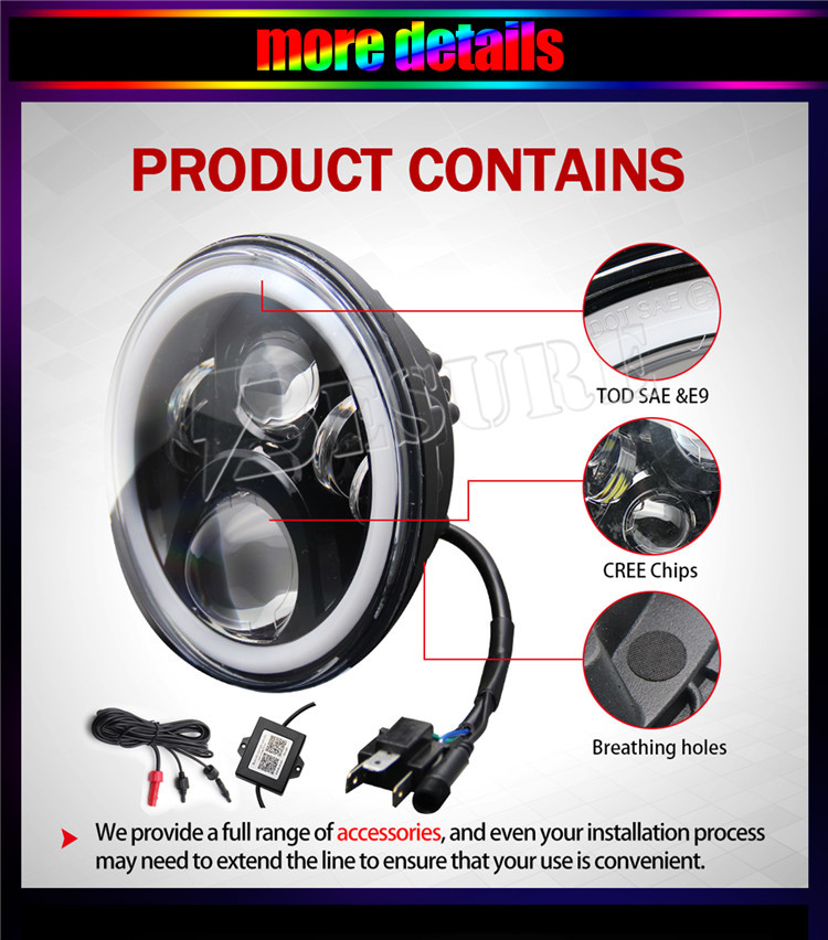 "Bluetooth 7 Inch H4 60W Head Lamp RGB Halo Angel Eyes 7"" Round LED Headlight With Remote Control Wiring Harness For Jeep JK"