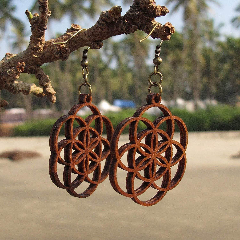 Seed of Life Earrings - Wooden earrings - Sacred Geometry Jewelry - Bohemian Earrings