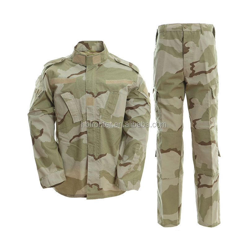 Military Tri-Color Desert Camo Camouflage Battle Fatigues Guard Army Uniforms