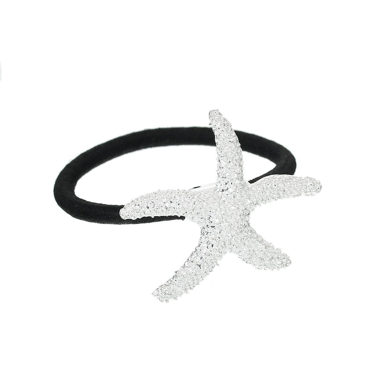 Nylon Cirlce Ring Hair Band Ponytail Holder Black Acrylic Imitation Pearl Choose Your Style From Menu (Starfish)