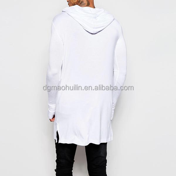 Men Apparel Longline Long Sleeve T Shirt With Hood Men Custom ...