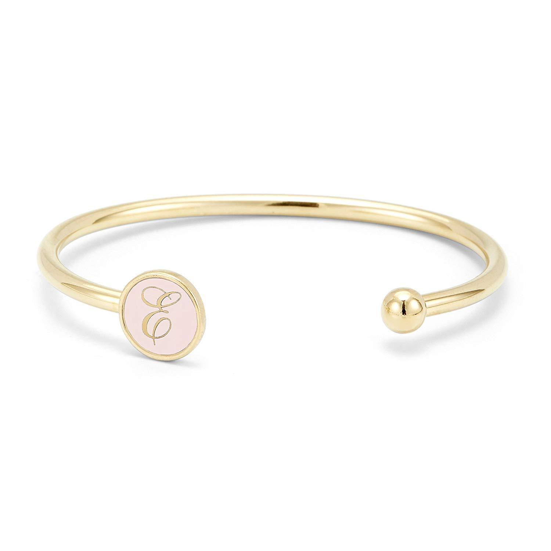 Custom Engraved Initial Signet Cuff Bracelet Color Enamel - Women's Initial Monogram Bracelet