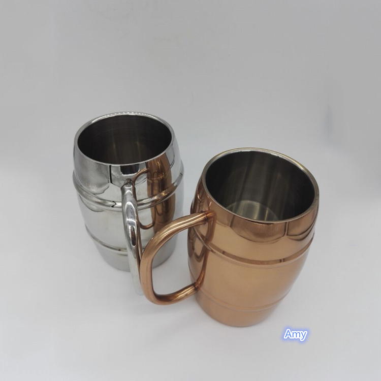 unique metal mug 420 ml/500 ml ,stainless steel double walled coffee cups with door handle ,printed cup
