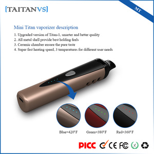 Mini Titan-1 Vaporizer 1300mAh Fast Heating Ceramic Chamber Herbal Vaporizer Dry Herb 2017