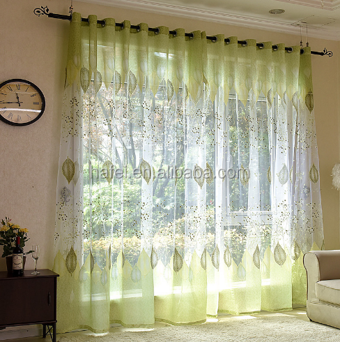 latest curtain fashion designs decorative tree leaves embroidery sheer curtain