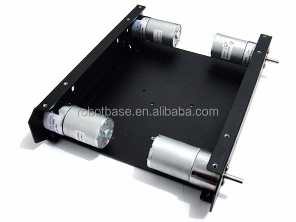 4WD Rubber Wheel Black Aluminium Chassis Mobile Robot Car Platform with 12V Metal Motor 200R