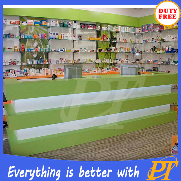 Elegant Medical Display Luxury Pharmacy Shop Counter Design Pharmacy Store  Display Furniture In Pharmacy Shop