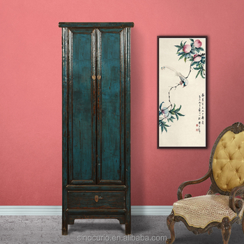 Chinese Antique Wooden Tall Thin Storage Wardrobe Cabinet