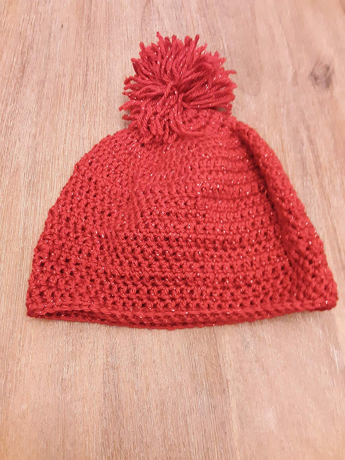 a5b8955aa501f Get Quotations · Red Metallic Beanie with PomPom