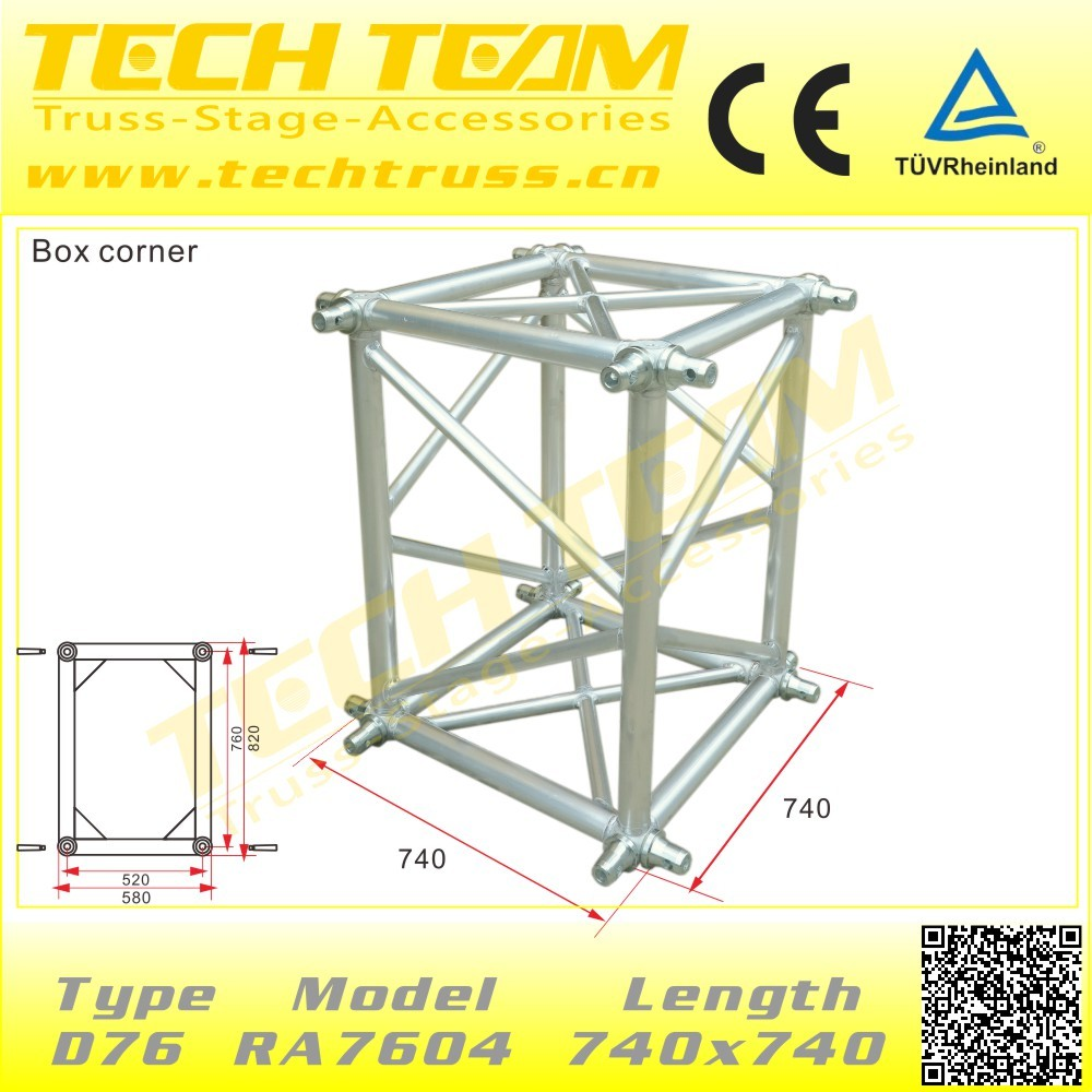 D76-RS25 quality aluminum truss , heavy duty truss stand , concert stage roof truss