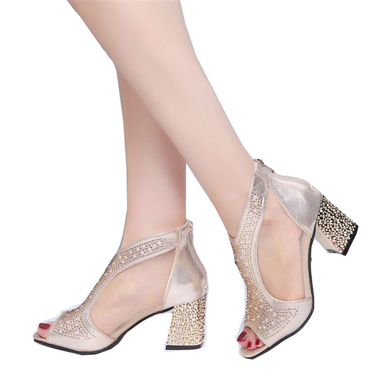d61b7e4e3f2 Get Quotations · Fashion 2018 Women Sandals Bling 7cm High Heels Diamond  Summer Square Heel Women Shoes Wedding Shoes