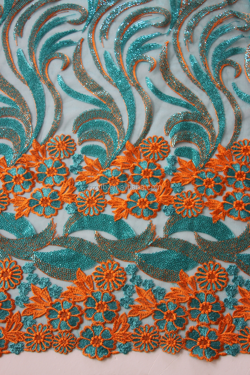Hand Embroidery Designs 100 Polyester Sequin Net Embroidery Fabric ...