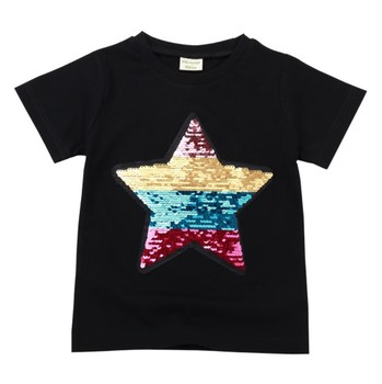 wholesale Convertible sequins boy short sleeve tshirts