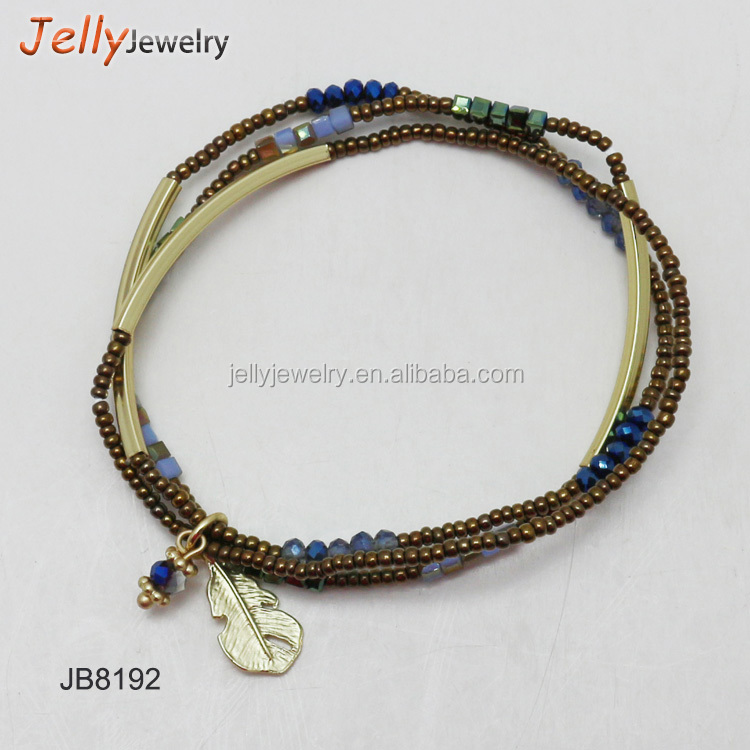 Latest style leaf drop Charm Bracelet gold long square tube glass seed bead three piece stacked Bracelet set
