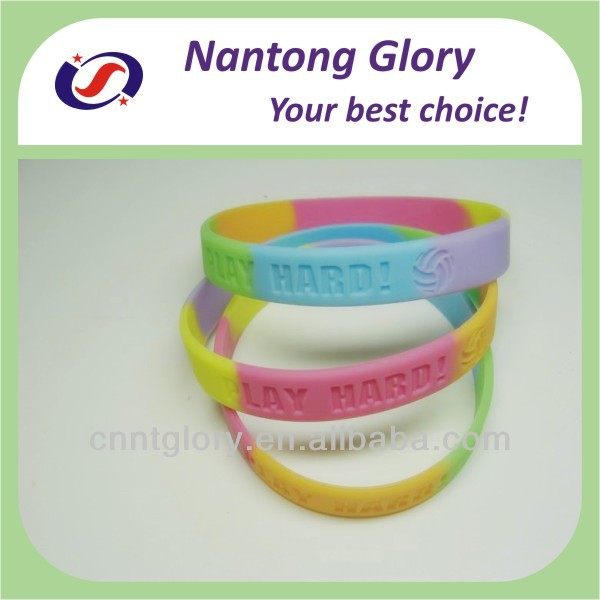 funny custom debossed rainbow color silicone rubber bracelet