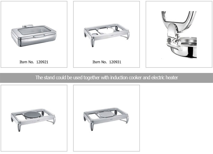 Stainless steel GN1/1 rectangle buffet chafing dish with glass lid available for induction cooker for food warmer