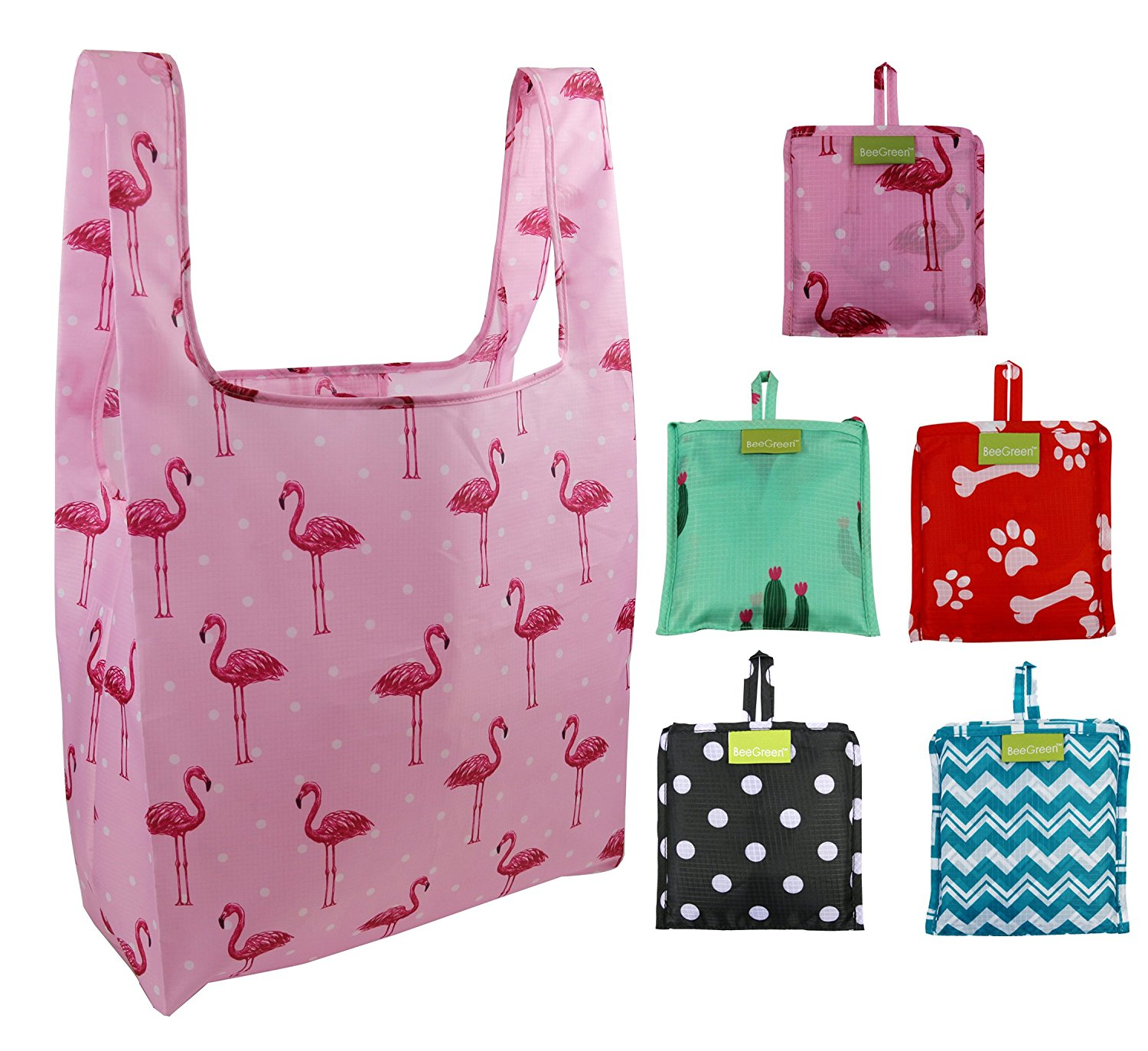 dd39e023f Get Quotations · Foldable Reusable Grocery Bags 5 Cute Designs