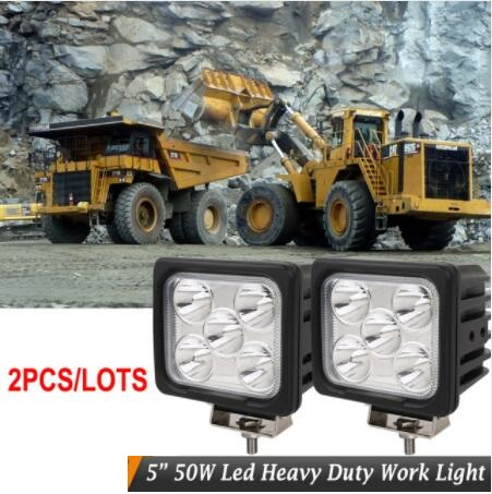 2pcs IP67 10-30V 50W Square Led work light 5inch 50W Spotlight LED Driving Lights TRUCK Car BOAT MARINE driving lights