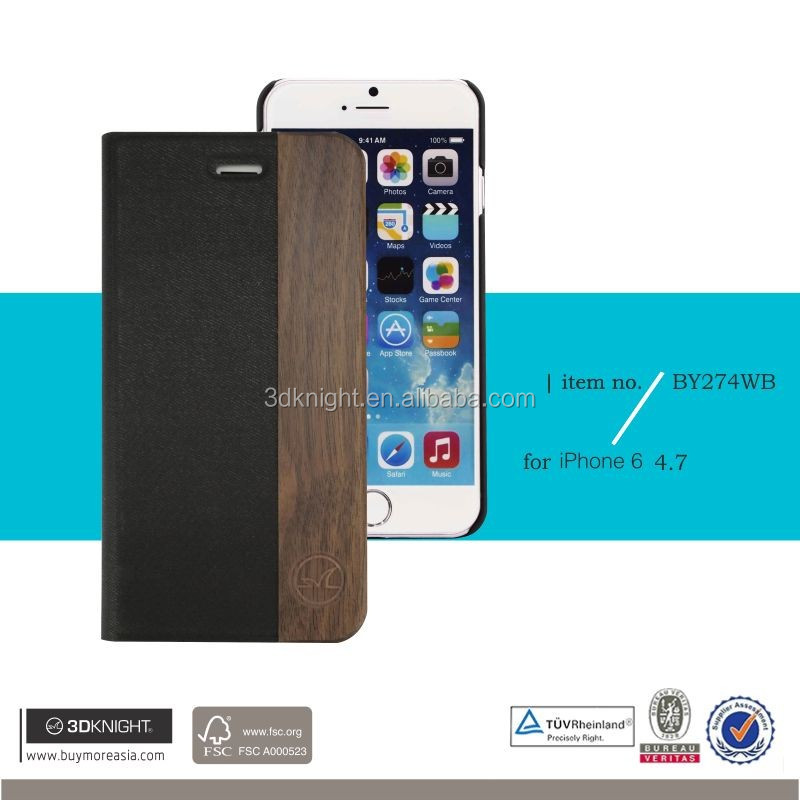 Factory Wood Case For iphone 6s ,Pu Flip Cover Case For iphone 6s