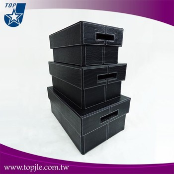3pcs Set Crocodile Faux Leather Storage Boxes
