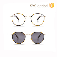 2017 new arrival round metal optical frames polarized sunglasses