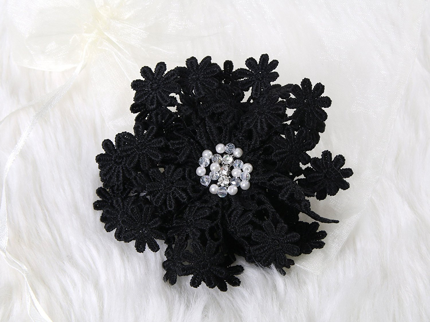 Buy Sweet Lace Flower Hair Clip And Brooch Pin With Crystal Black