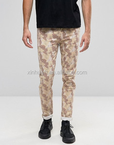 Top Quality Wholesale Latest Men Camo Print Long Skinny Jeans