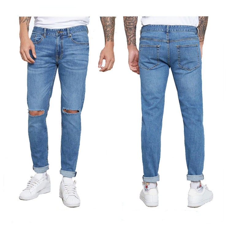 New Style men's cotton slim custom ripped denim jeans