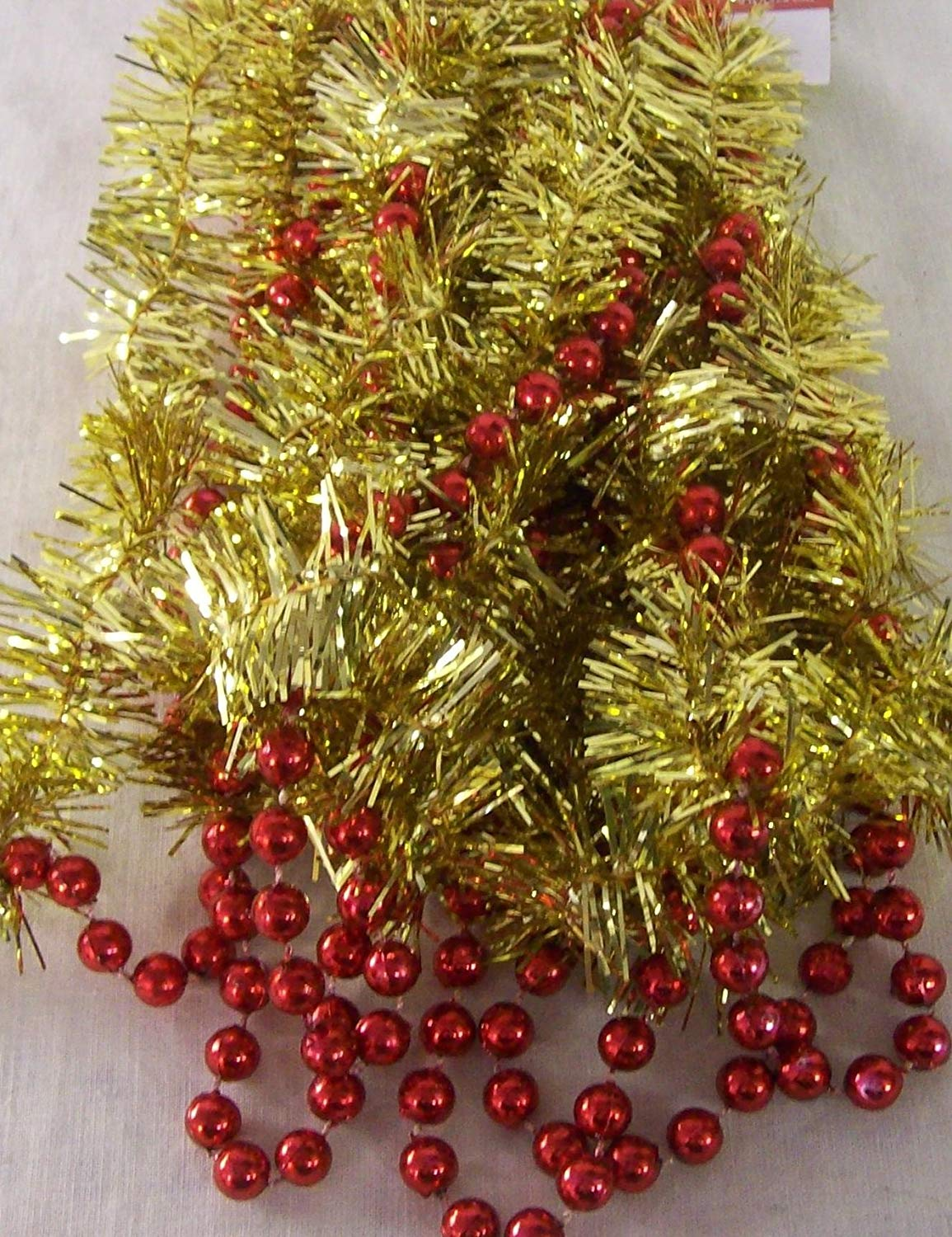 get quotations 18 feet gold christmas garland with red beads