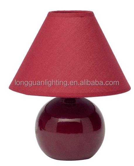 Living Room Lamp Table Lamp,Dark Red Color,Ceramic Base With Textile ...